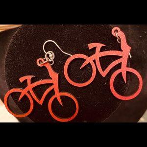 NWT-Wooden Bicycle Earrings